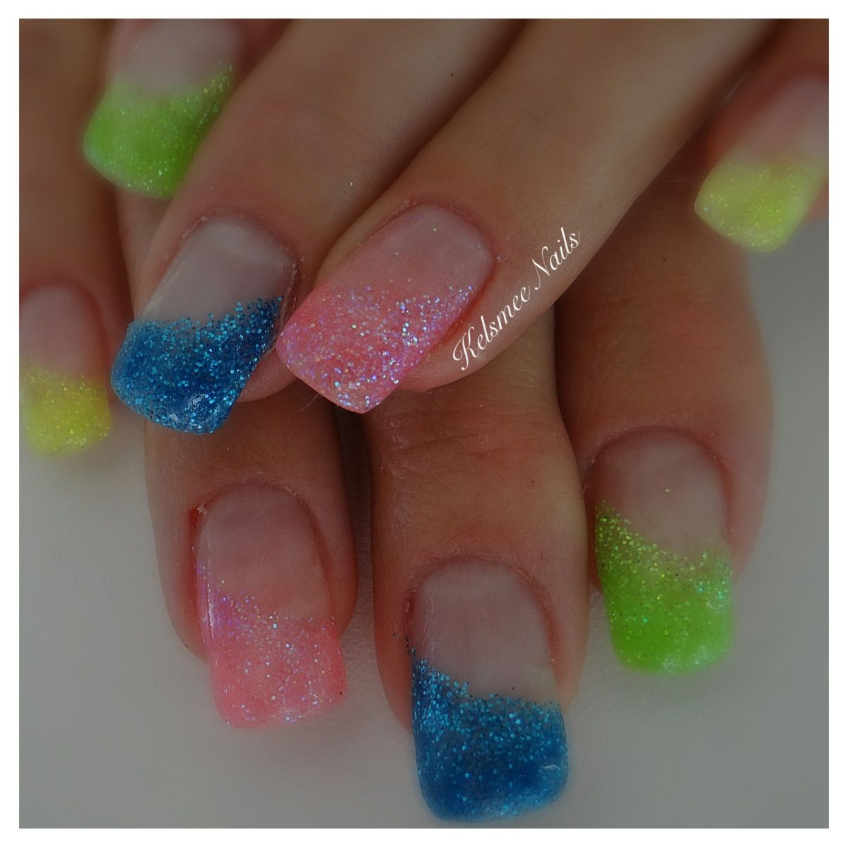 Young Nails gel glitternails neon | French Nails With a Twist ...