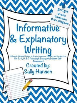 InformativeExplanatory Writing Rubrics And Graphic Organizers