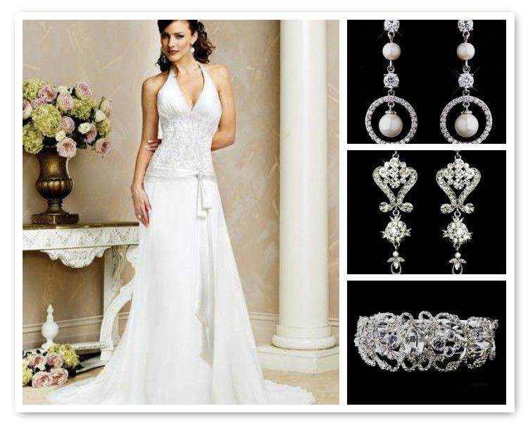 Jewelry ideas for halter top wedding dresses for Wedding dress halter top
