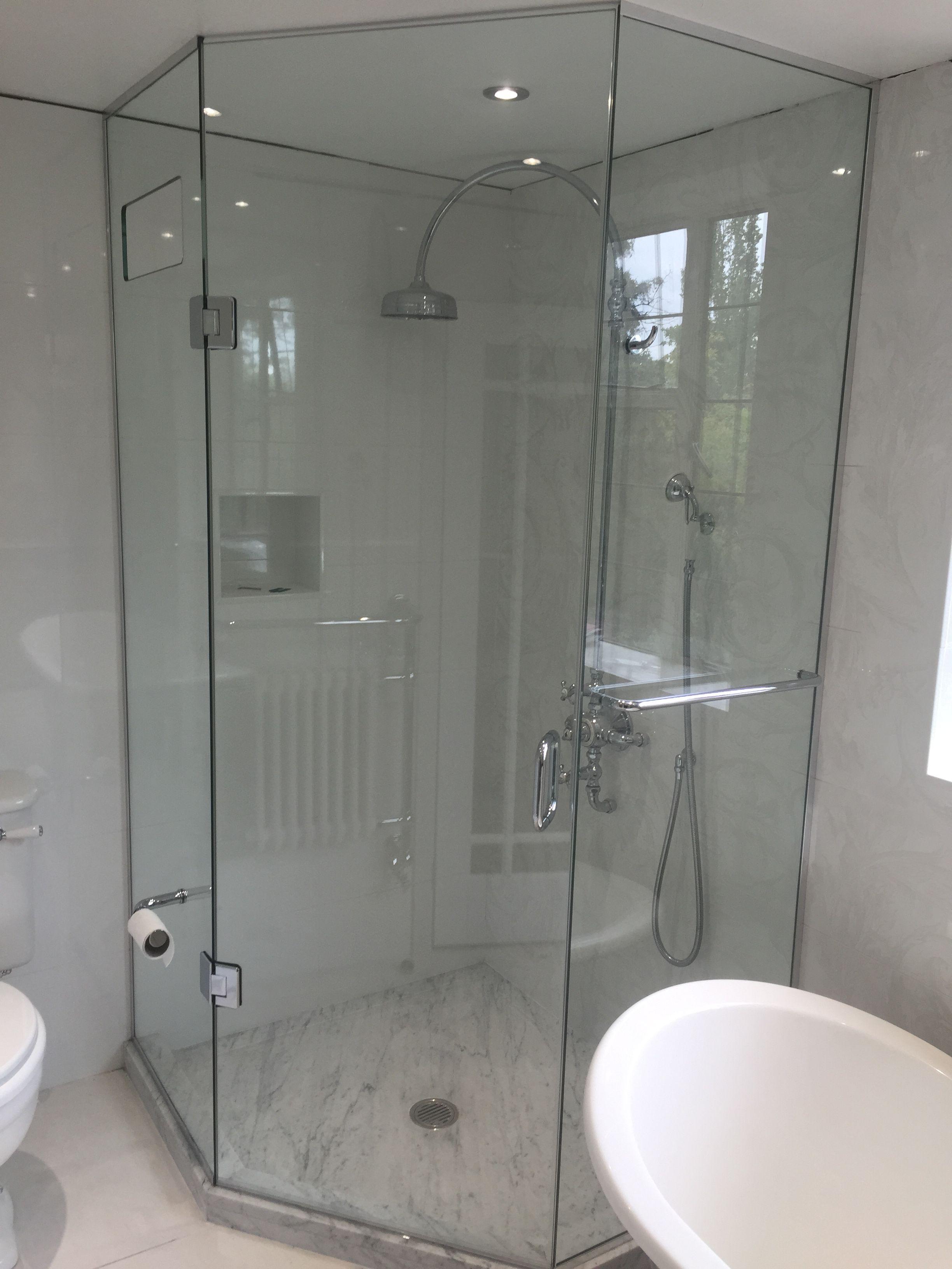 Frameless Pentagonal Shower Enclosure Full Height Floor To Ceiling In Low Iron Glass With Thr House Bathroom Designs Bathroom Design Small Bathroom Interior