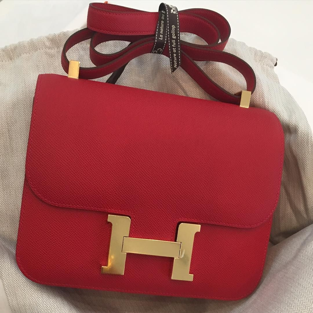 da6d81d5aec4 Hermes 24cm Constance in Rouge Casaque Epsom leather with gold hardware