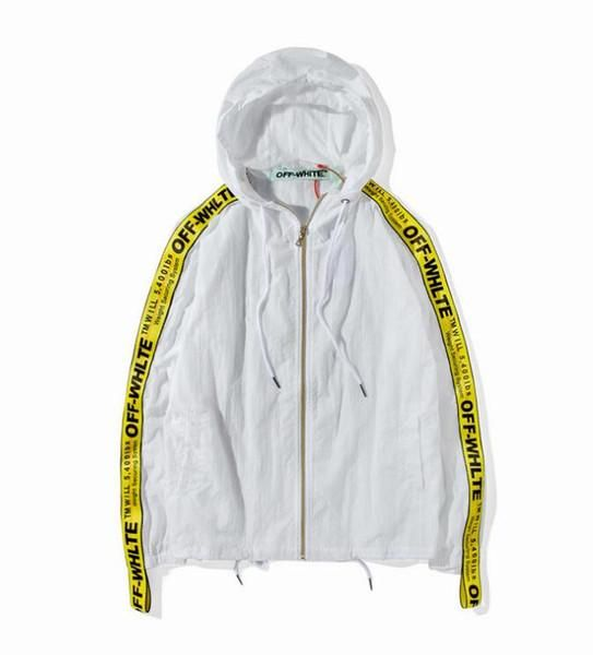 474cf9483fa4 UA replica OFF-WHITE Windbreaker jacket with yellow lace by sleeves ...