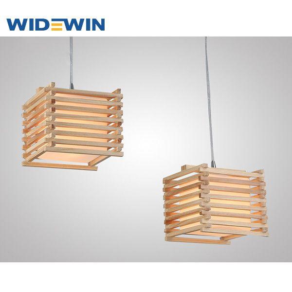 Creative dise o cuadrado de techo de la l mpara de madera para la l mpara de luz led luces - Lamparas colgantes de madera ...