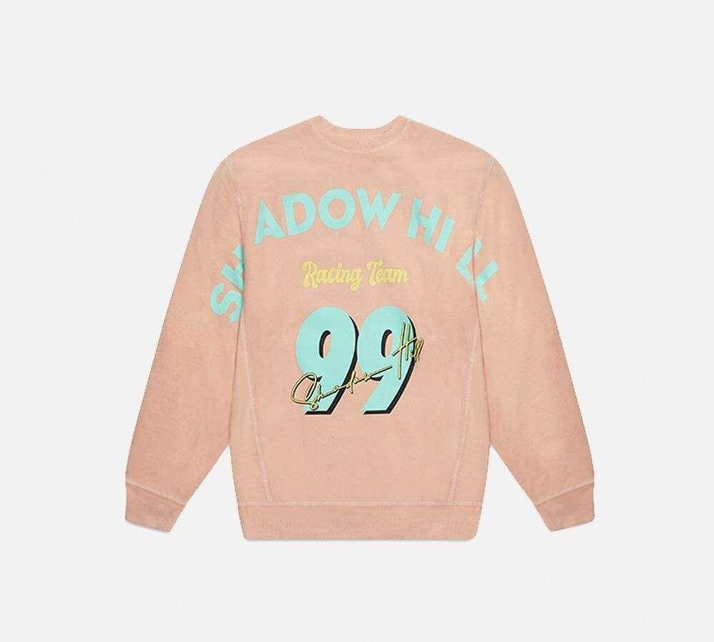 Icy Peach Racing Crewneck Shadowhillusa Vintage Wash Jeans Athleisure Wear Quarter Zip Jacket [ 899 x 1000 Pixel ]