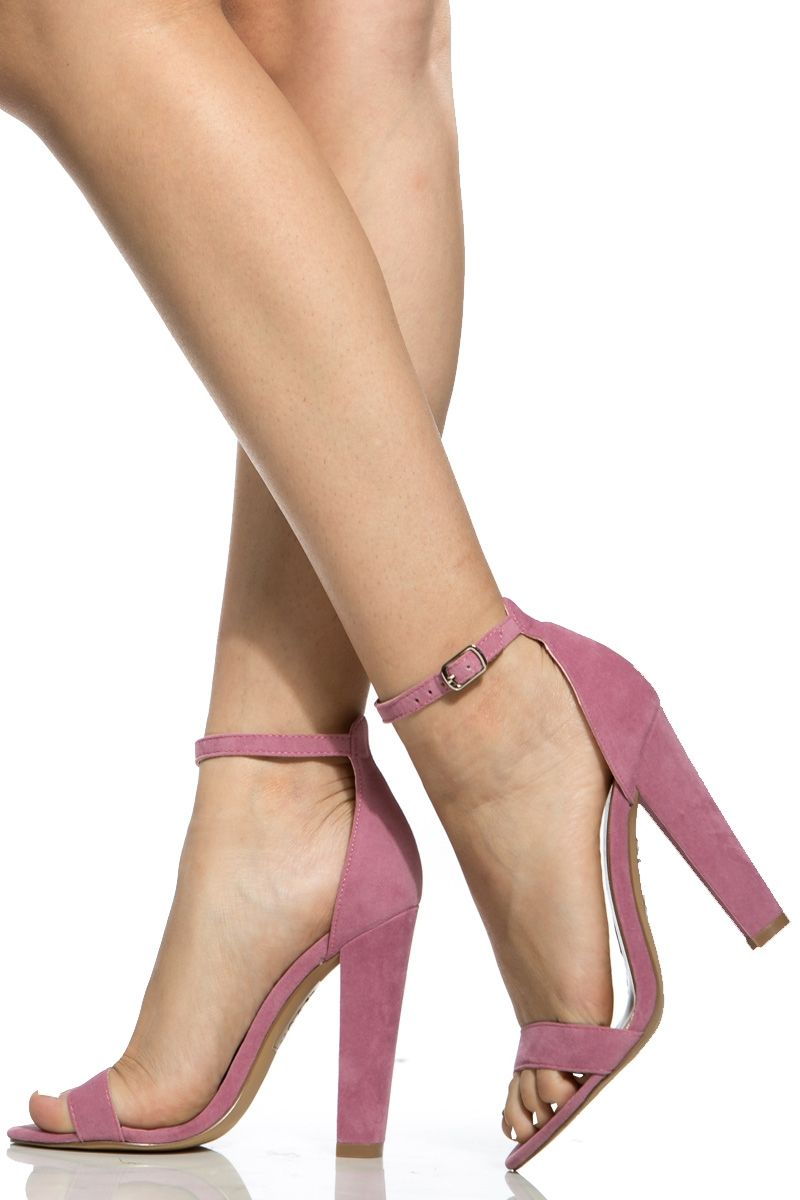 a887382d20 Mauve Faux Suede Chunky Ankle Strap Heels   Cicihot Heel Shoes online store  sales Stiletto Heel Shoes