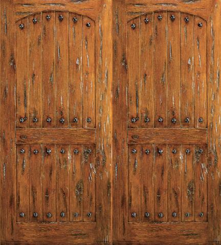 Exterior Double Door Knotty Alder Southwest Home Clavos rustic-front- doors & Model SW-62 | Western theme Barn doors and Doors