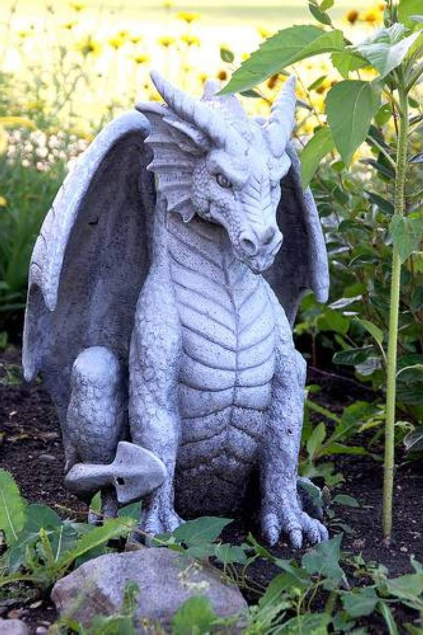 Garden And Lawn , Dragon Garden Statue : Sitting Dragon Garden Statue