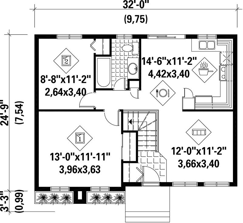 House Plan 614600184 Ranch Plan 779 Square Feet, 2