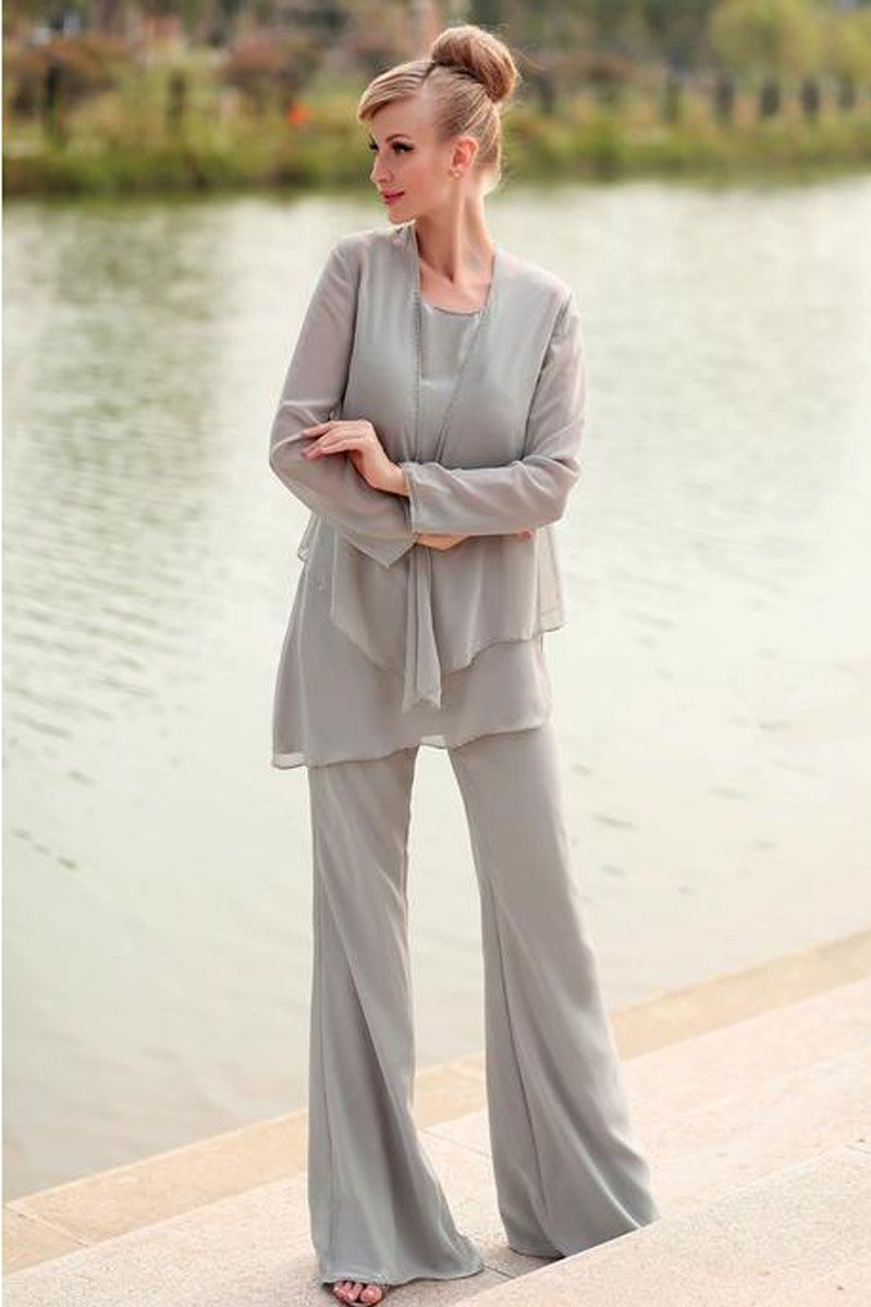 Dress to wear to a fall wedding  Elegant gray Chiffon three Piece mother of the bride dresses pants