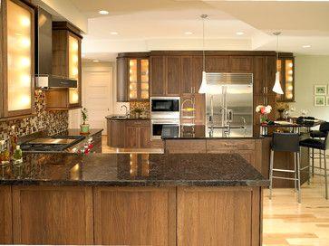 Shaker Black Walnut Kitchen Traditional Kitchen Kitchen Cabinets Walnut Kitchen Walnut Kitchen Cabinets