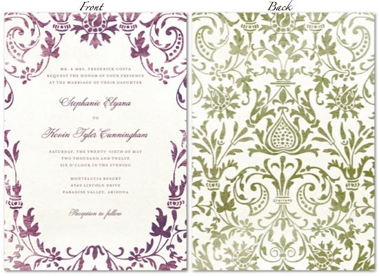 Wedding Invitation Diva: Purple And Green Wedding Theme —invitations By Paper Divas