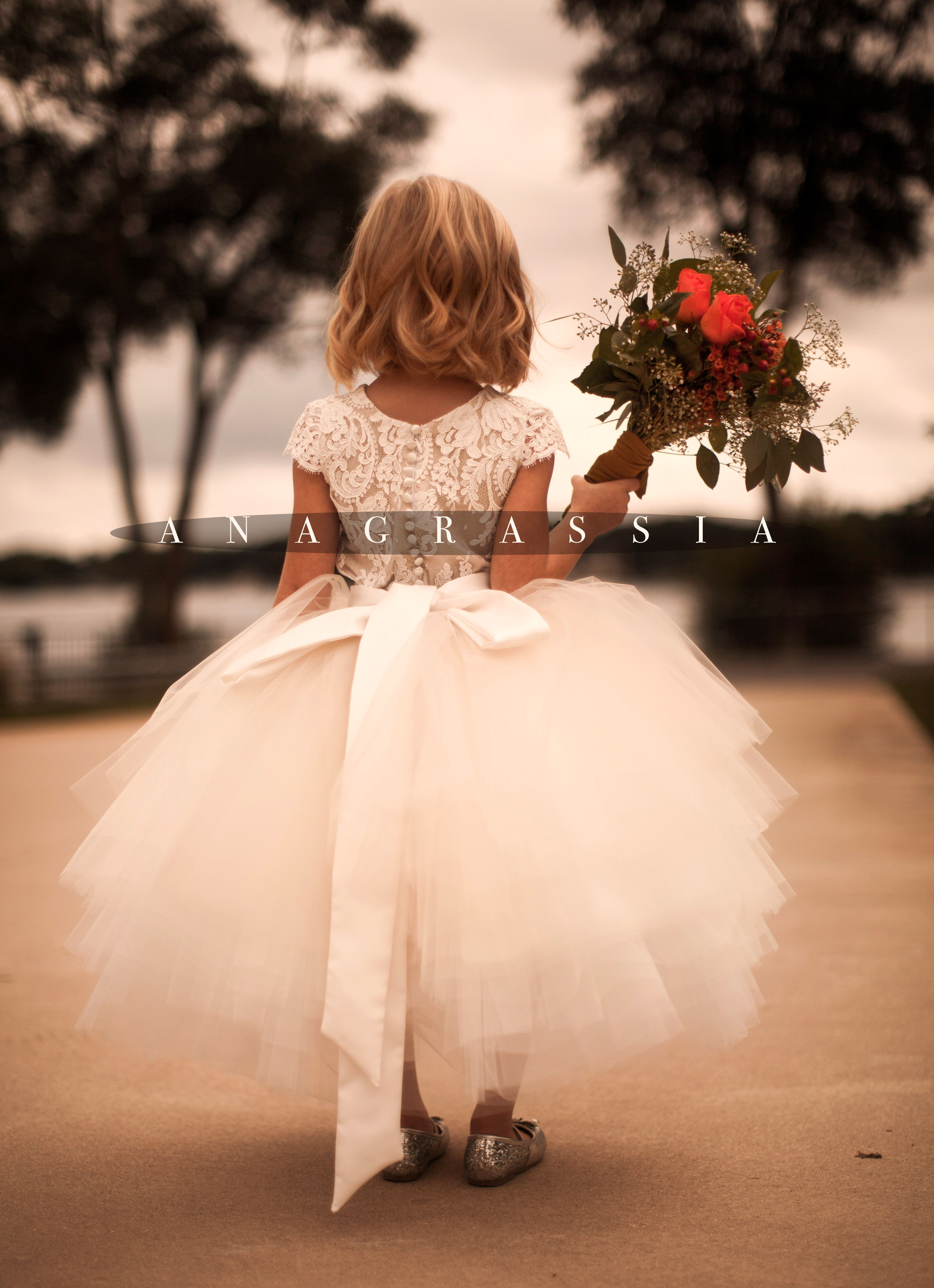 4ecd940587 ANAGRASSIA flower girl dresses  ivory champagne lace leotard   bodysuit  with champagne ivory white tulle skirt and satin sash www.anagrassia.com