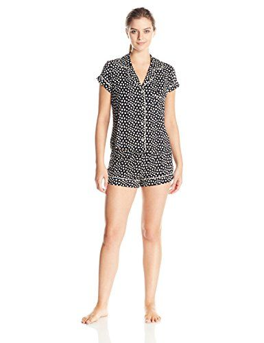 eberjey Women's Sleep Chic Short Sleeve Pajama Set, Black Foxtail, Medium