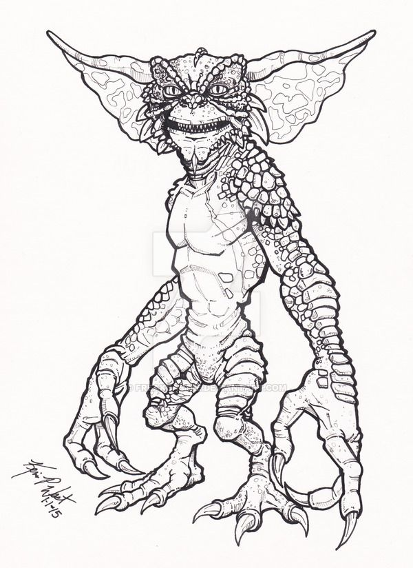 01 01 15 Gremlin By Freakcastle On Deviantart Coloring Pages For
