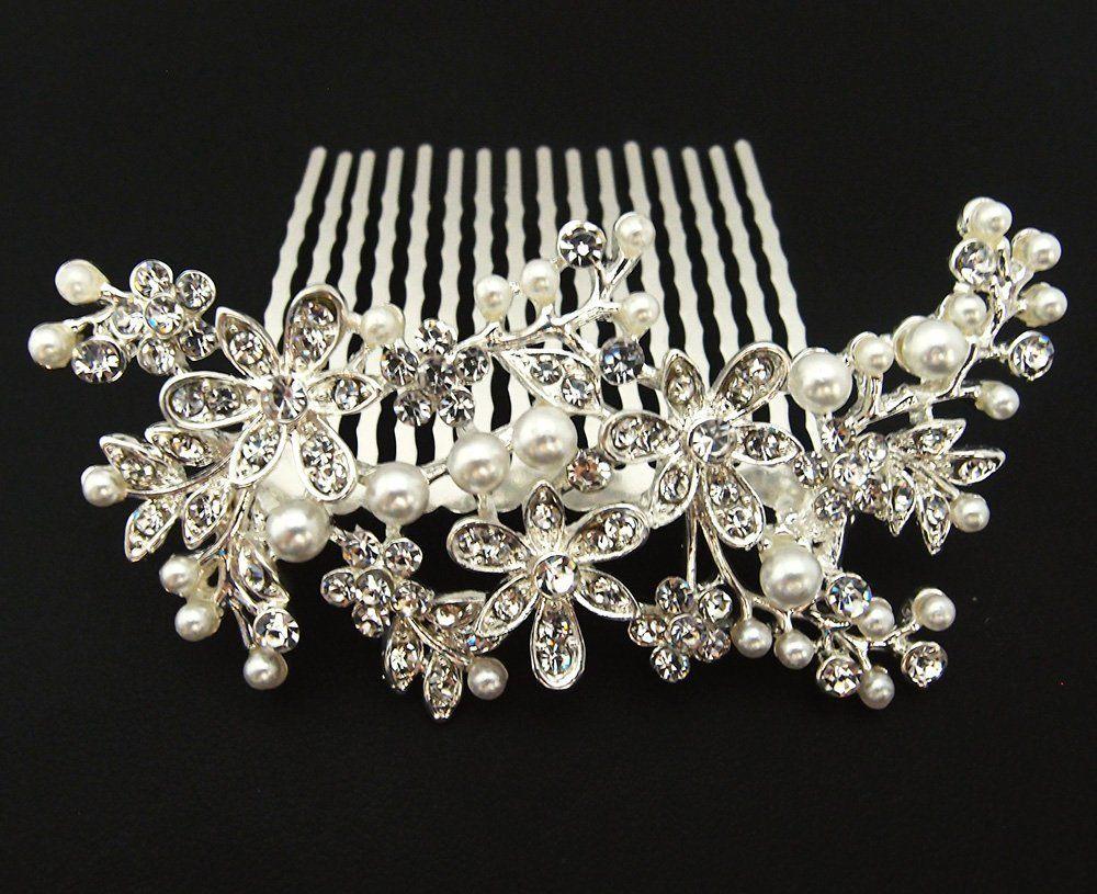 new beautiful elegant wedding bridal hair comb pearl and crystal