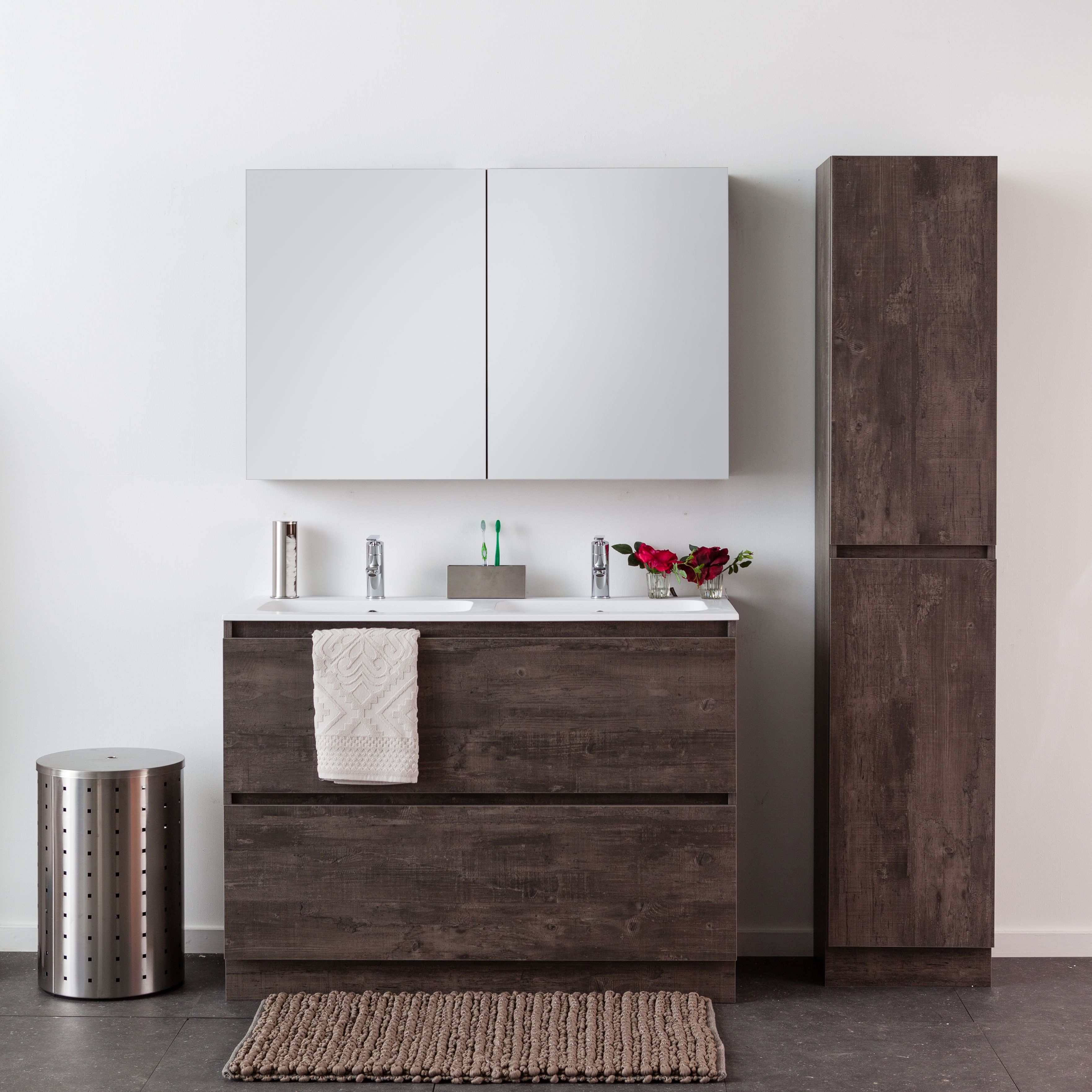 Badkamermeubel Domenico Zwart Betonlook 1200mm Bathroom Vanity Cabinets Vanity Cabinet