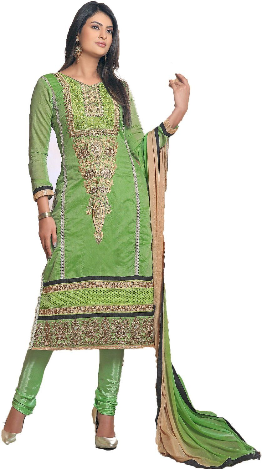 chakudee by white green chanderi drees material: Amazon.in ...