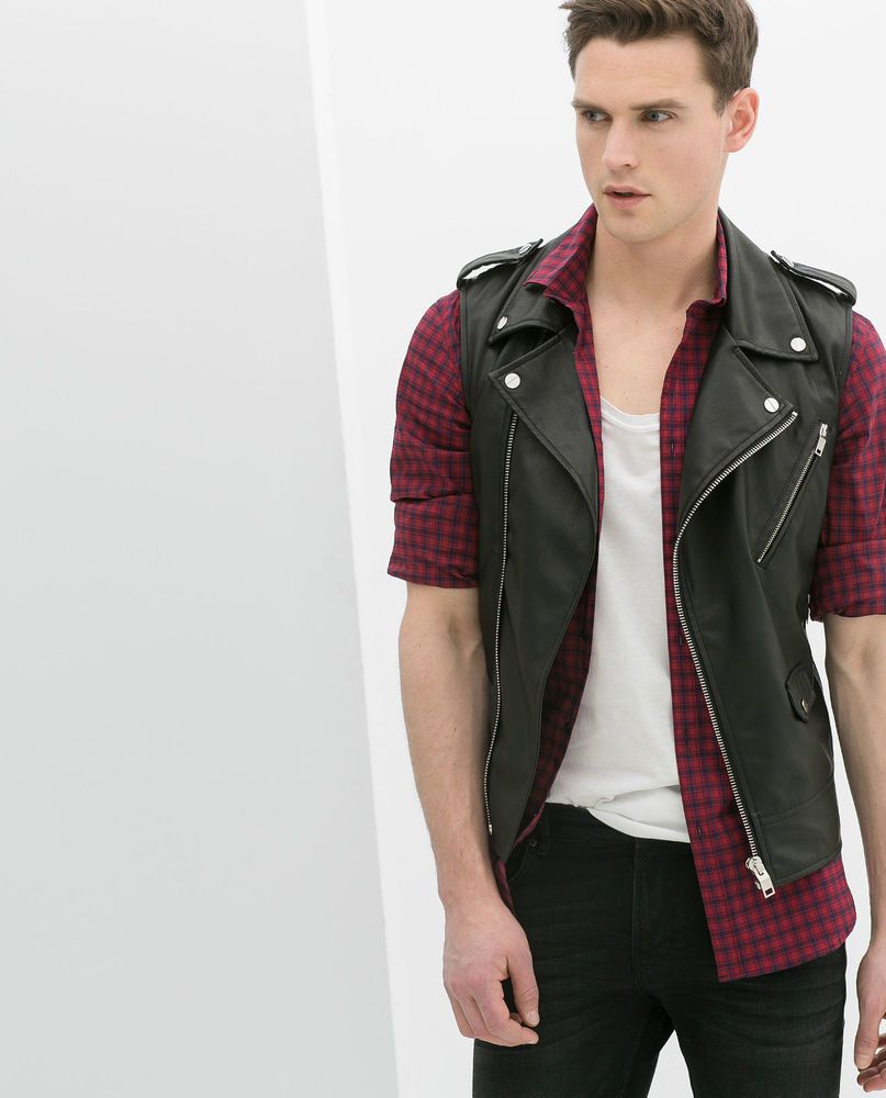 Man Cave Urban Zara : Zara man bnwt black faux leather biker waistcoat gilet