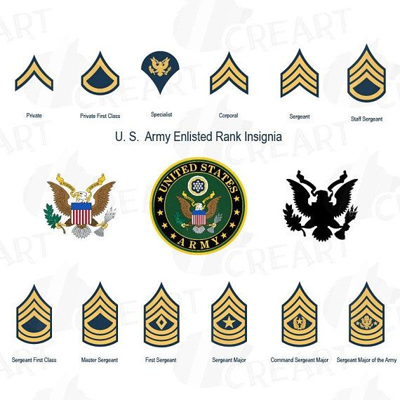 US Army enlisted rank insignia collection, US Army frame ...