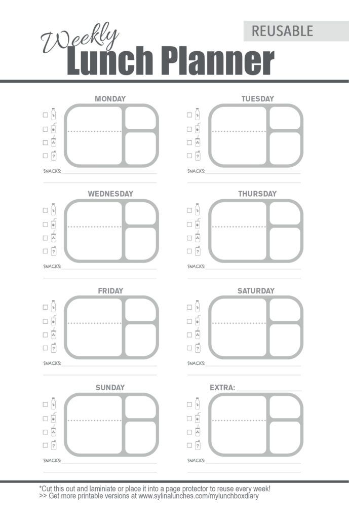 Weekly Meal Planner Template for Bento Lunch Box Planning #bentoboxlunch