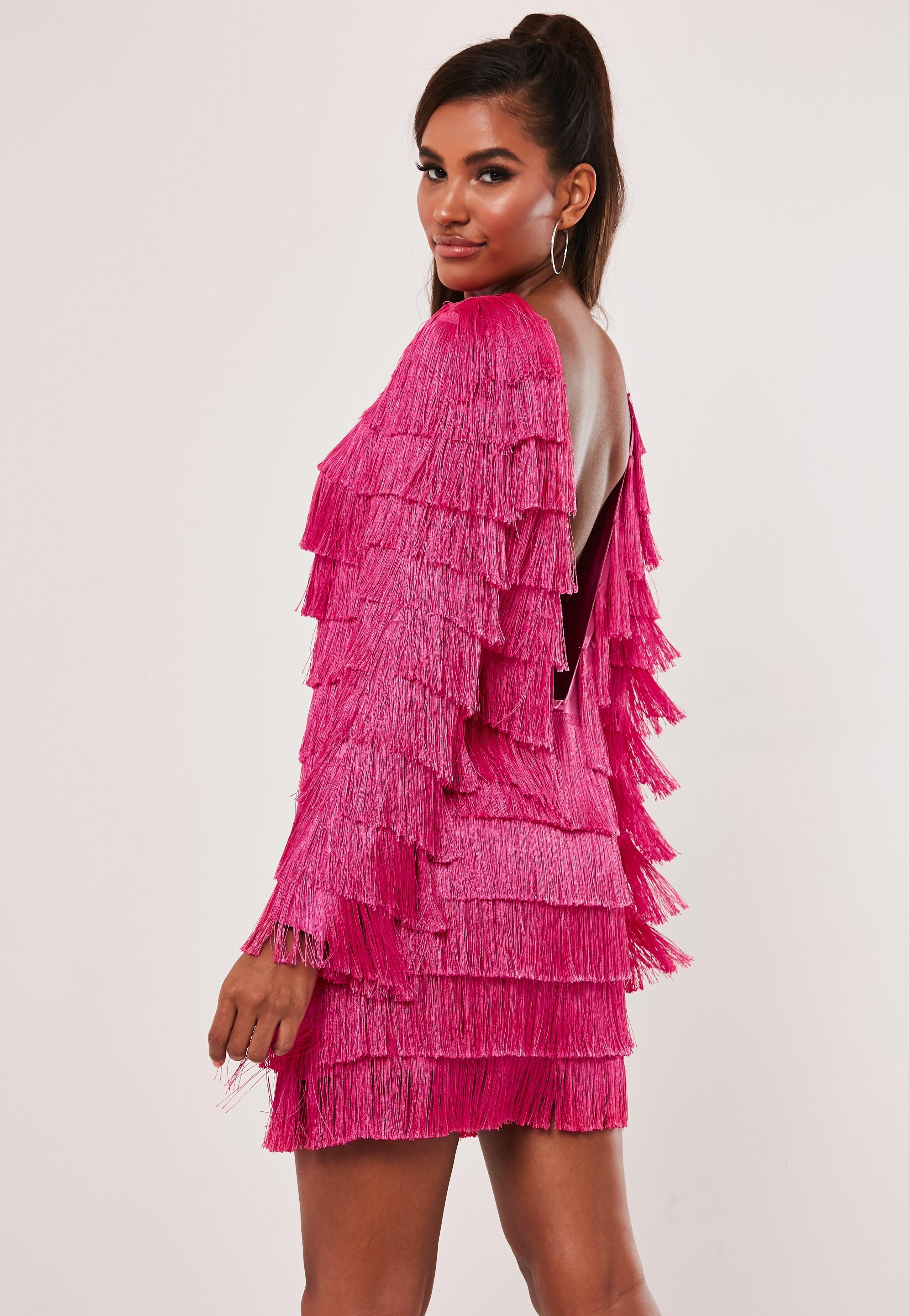 Pink Tassel Fringe V Back Shift Dress Sponsored Tassel Ad Pink Fringe Trending Dresses Dresses Street Style Women [ 4200 x 2900 Pixel ]