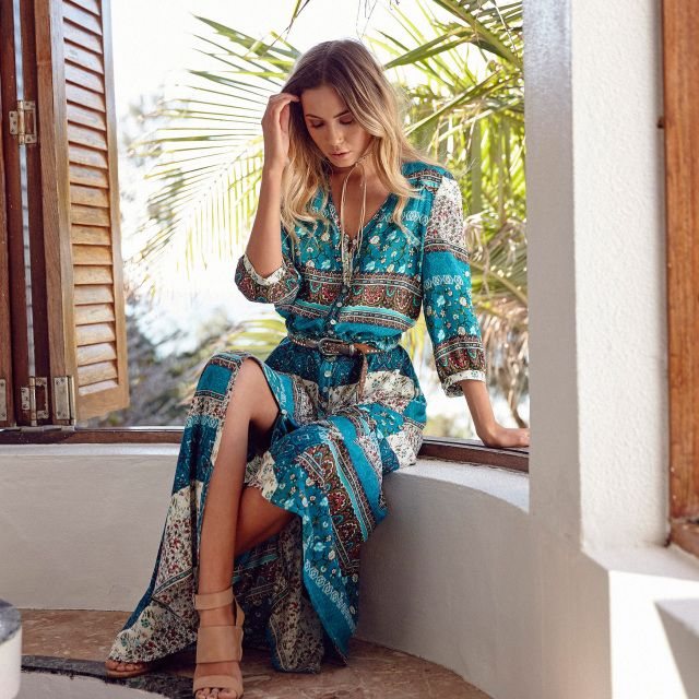 Le Salty Oracle Maxi Dress in St Tropez || $119 || From Minx + Pearl ...