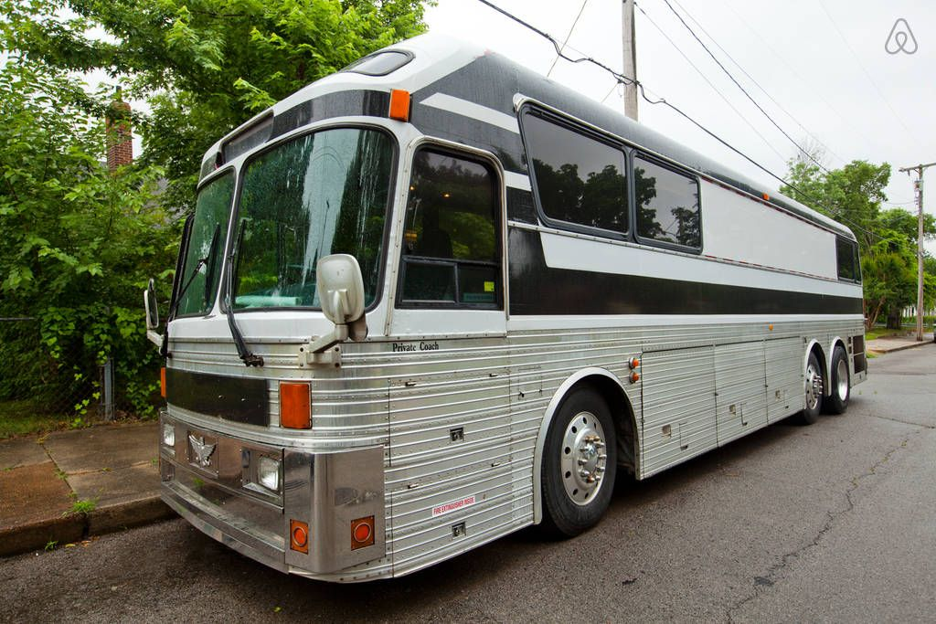 Close to downtown in a tour bus in nashville converted