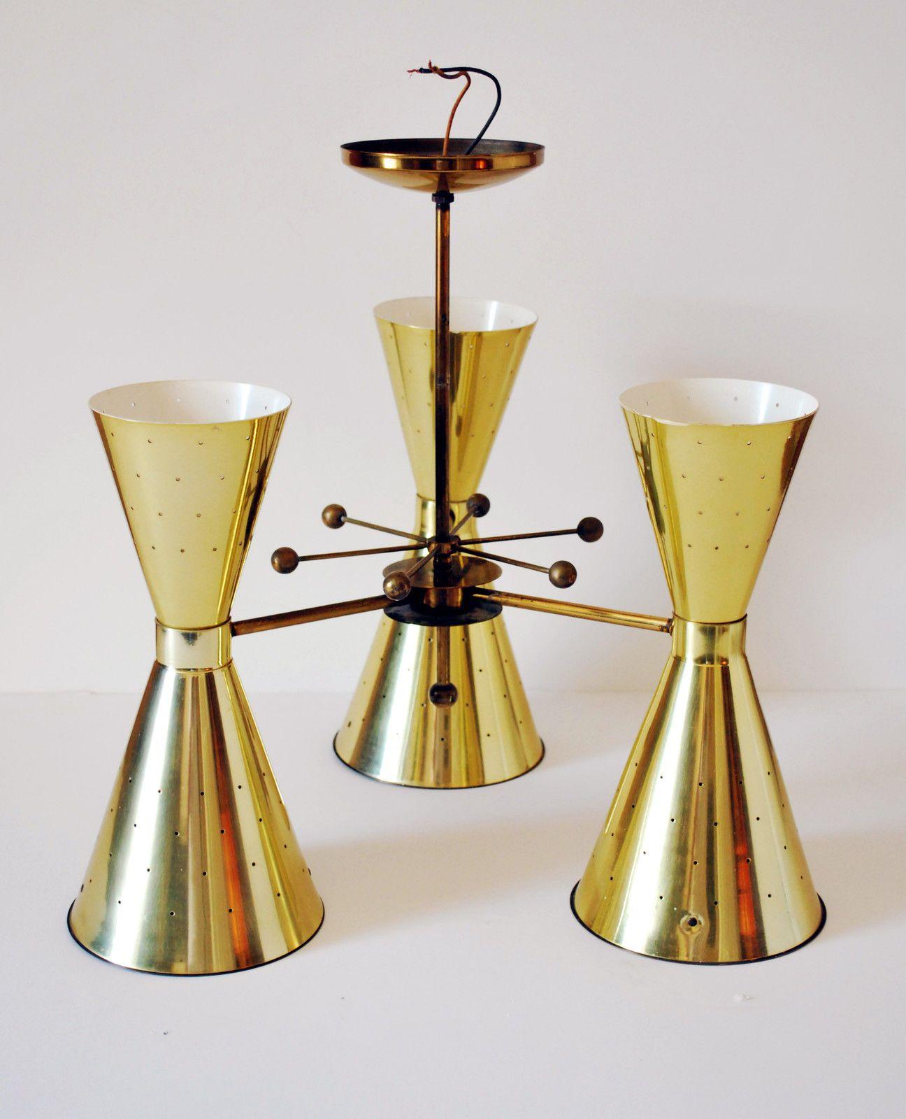 Mid century modern eames era atomic brass stilnovo double for Eames lampe