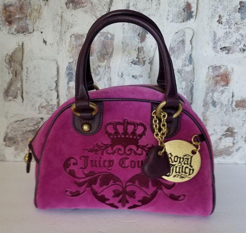 ad150ae3e46 Juicy Couture Effortless Bowler Bag Royal Purple Velour Handbag   JuicyCouture  Handbag