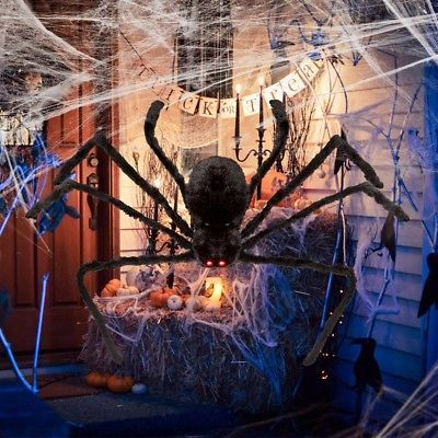 Details about Giant Halloween Spider Outdoor Decor 125cm with LED - spider web decoration for halloween