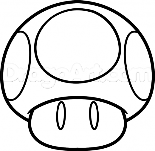Mario Mushroom Drawing Google Search Mushroom Drawing Super