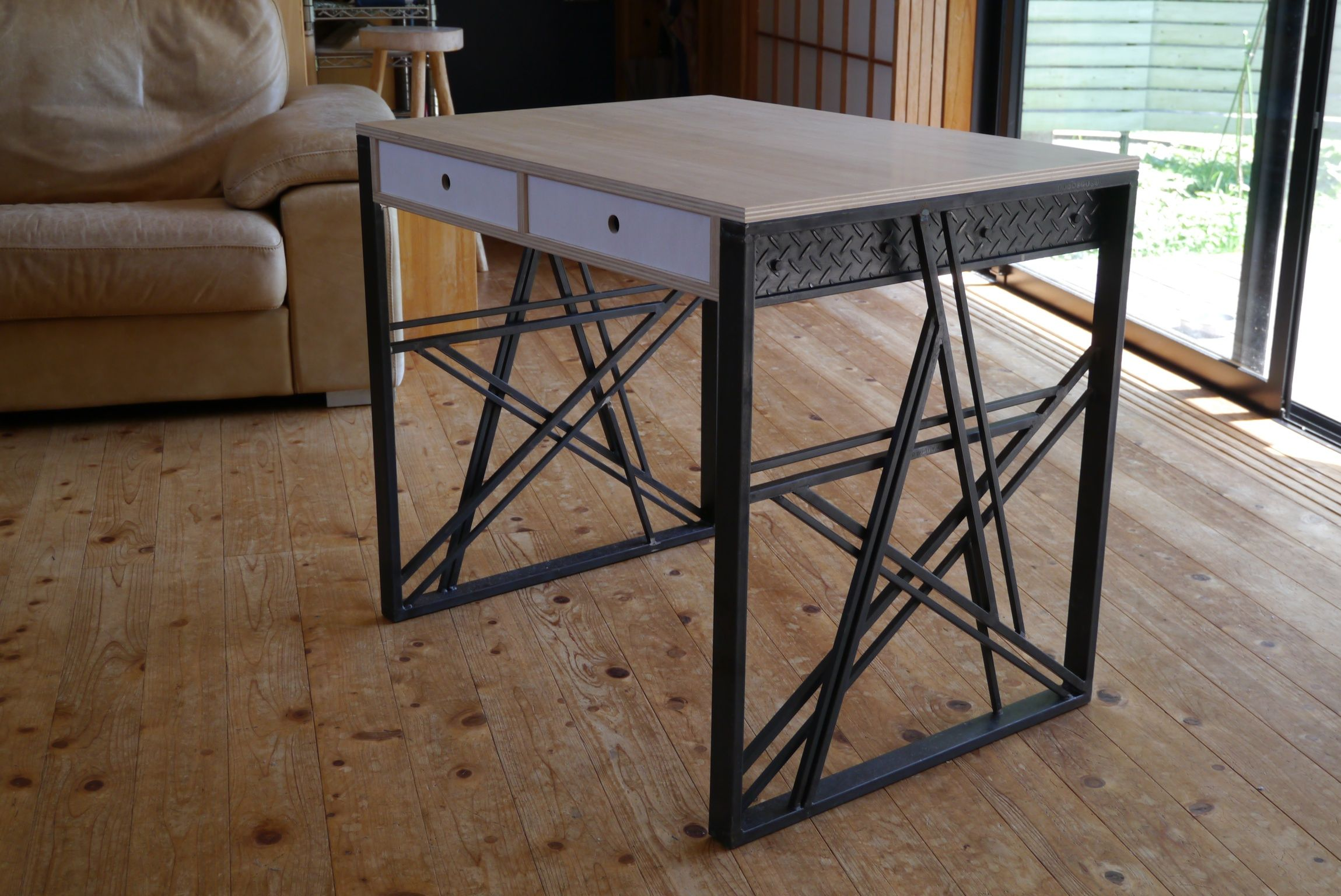 Desk with iron works