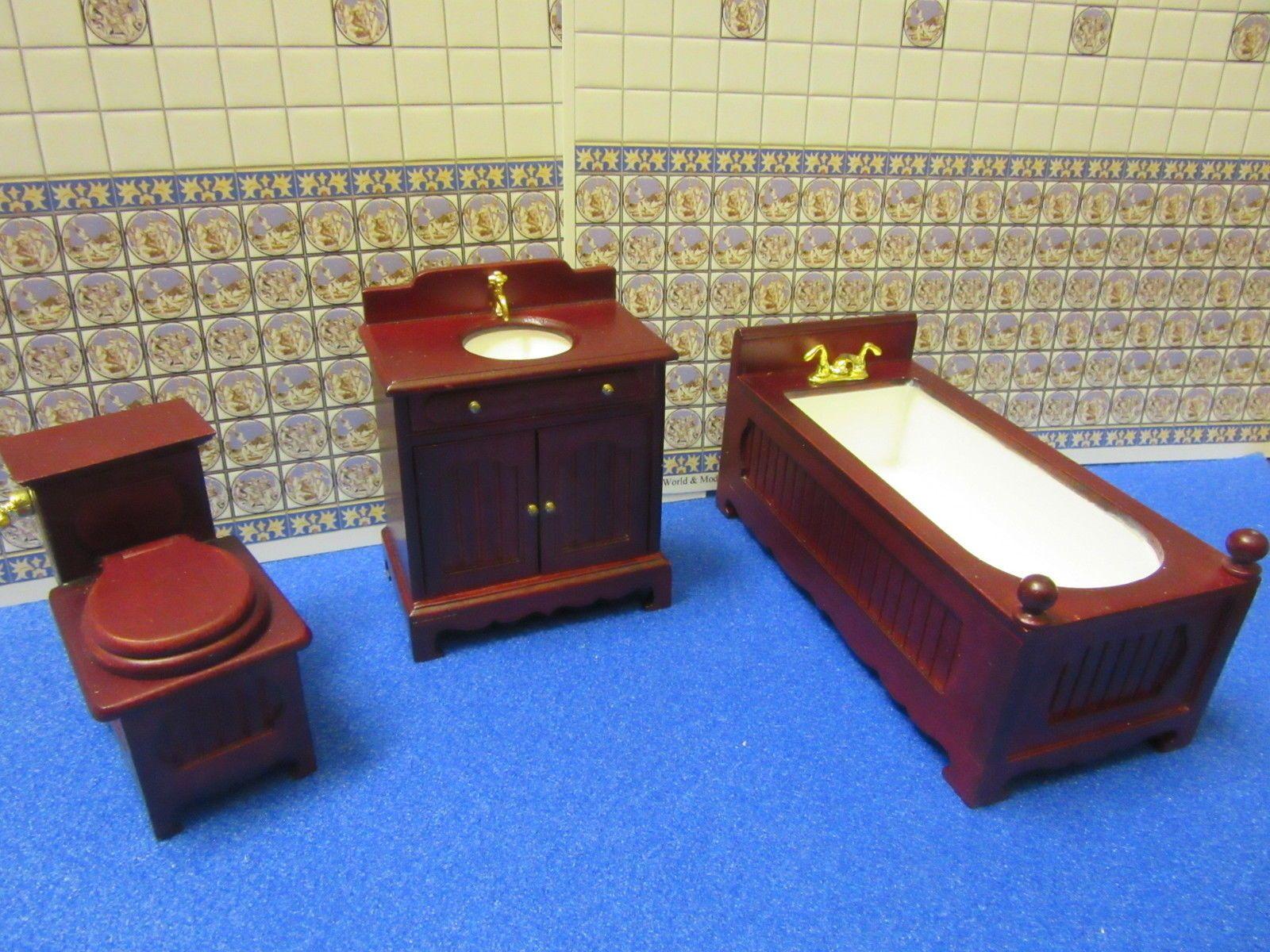 Dolls House Furniture Bathroom Suit Mahogany JiaYi 1450MH   EBay