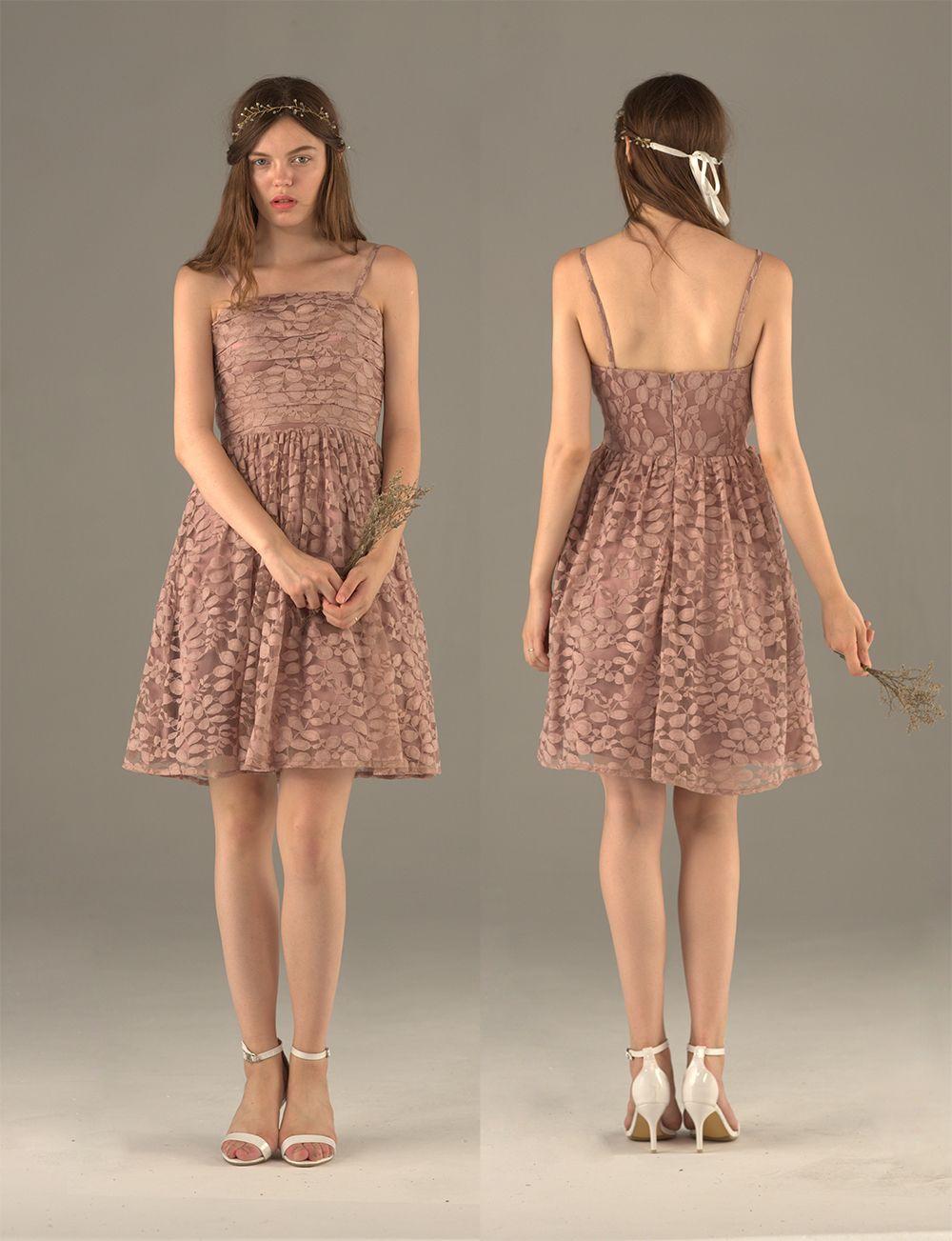 Dusty rose bridesmaid dress spaghetti strap lace evening dress