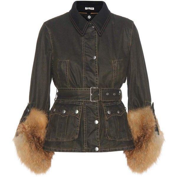 Miu Miu Fur-Trimmed Cotton Jacket (229.690 RUB) ❤ liked on Polyvore featuring outerwear, jackets, miu miu, green, fur trim jacket, green jacket, cotton jacket and miu miu jacket