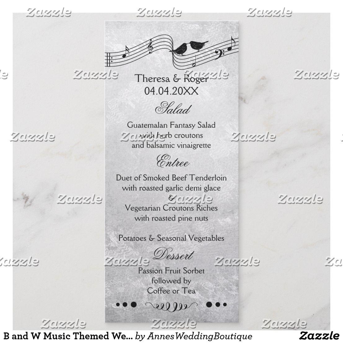 B And W Music Themed Wedding Menu Card