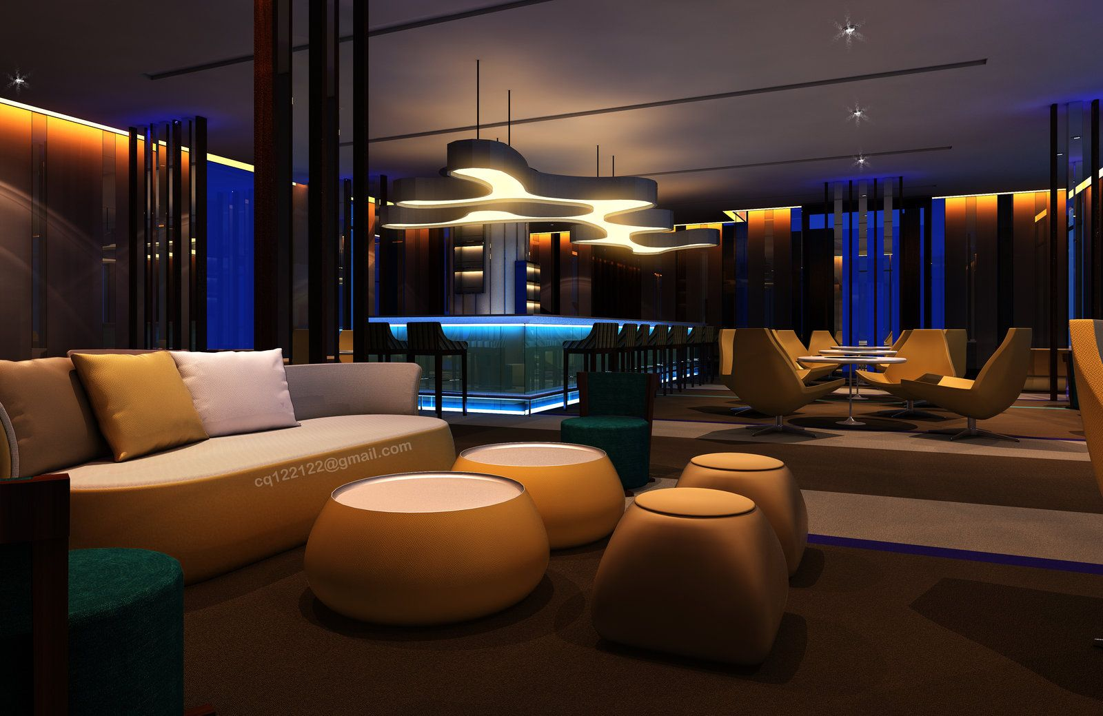 Hotel Lounge Bar Design (Night) By DouglasDao