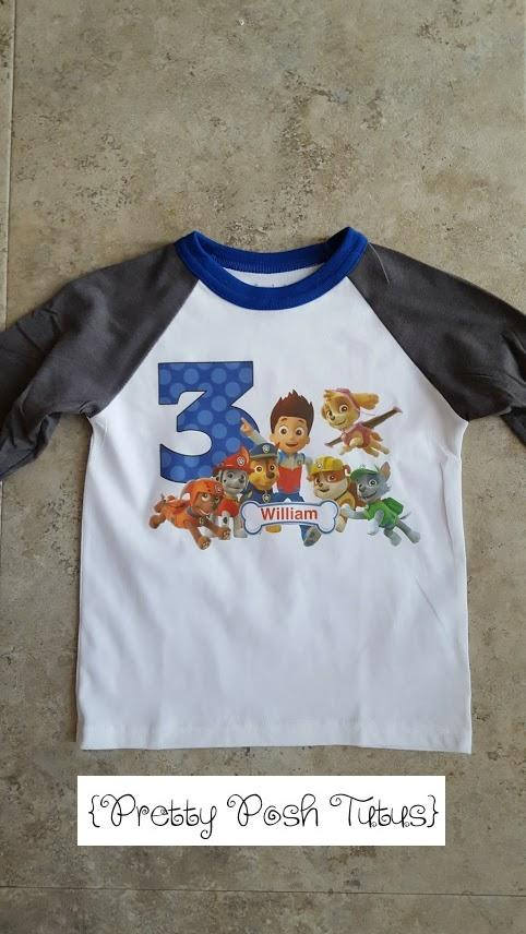Paw Patrol Boys Birthday Shirt Any Age And Name 2t 3t 4t 5t