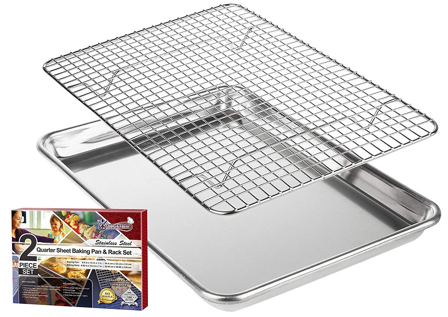 Kitchenatics Roasting And Baking Sheet With Cooling Rack Quarter Aluminum Cookie Pan Tray With Stainless Ste Best Baking Sheets Oven Safe Aluminum Baking Pans