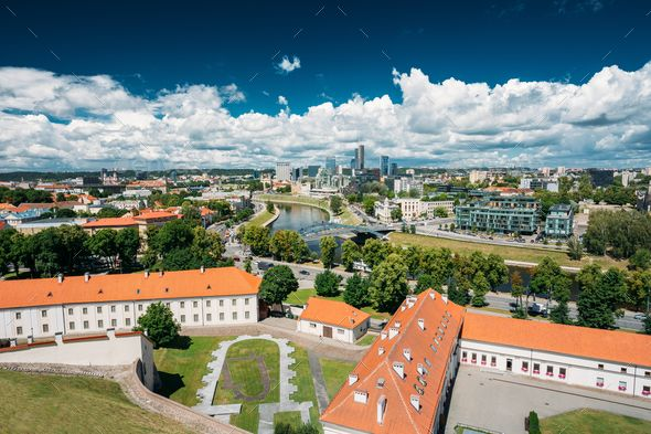 Vilnius, Lithuania. Modern City And Part Of Old Town Under ...