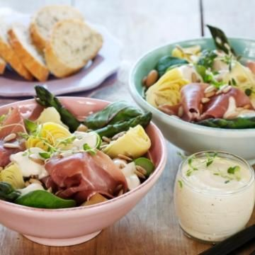 Aspargessalat med skinke.