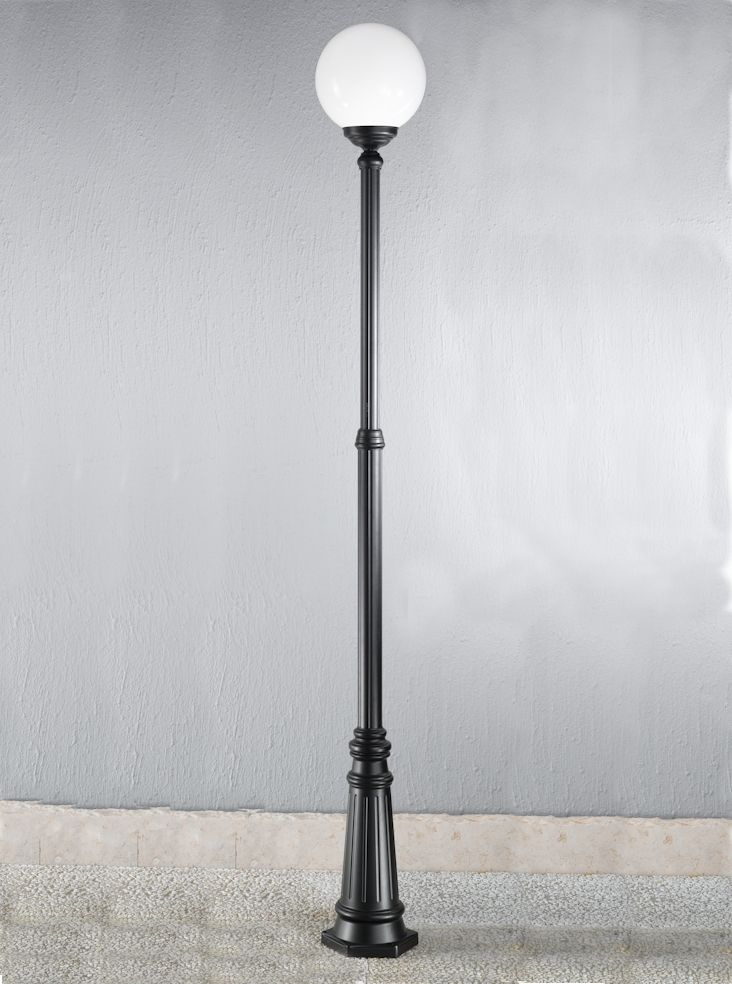 Ext6594 Rotondo Italian Large Lamp Post Black Aluminium Die Cast Matt Exterior Fitting With Opal Polycarbonate Spheres