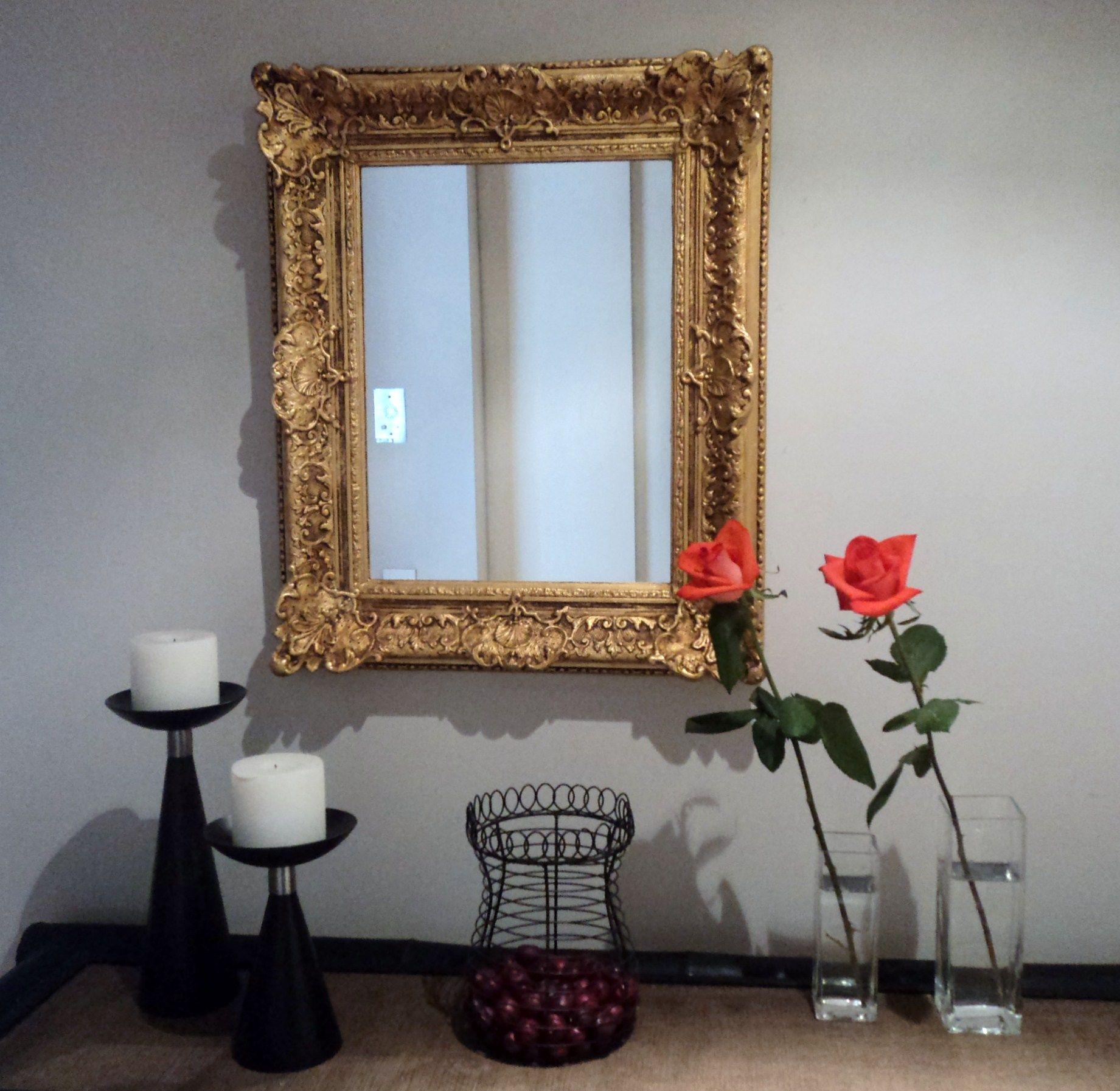 Espejo en marco franc s estilo rococ dorado a la hoja cuadros dorados pinterest espejos - Marcos espejos antiguos ...
