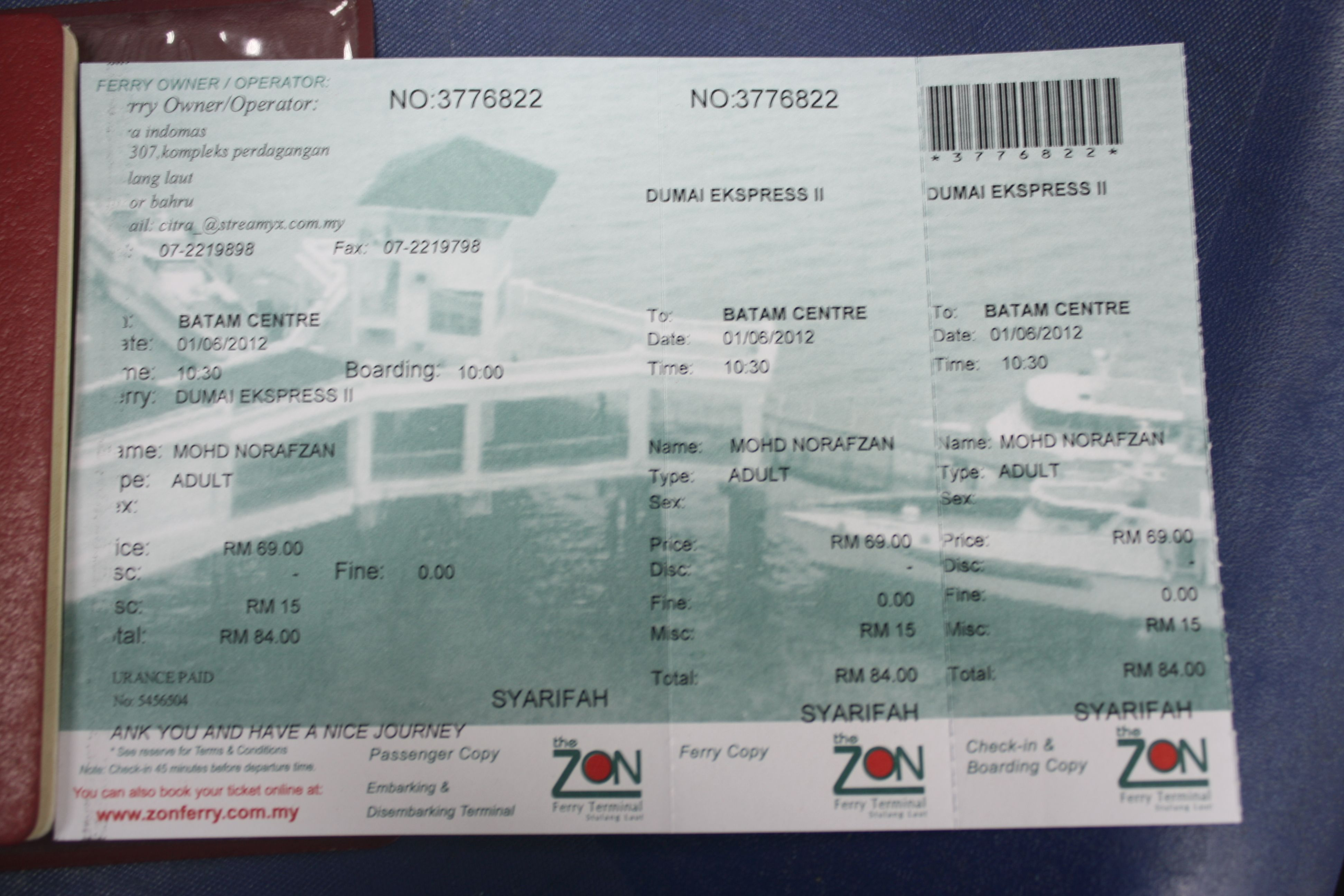 This Ticket Departure From Stulang Laut Johor To Batam
