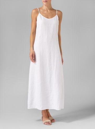 White Linen Spaghetti Strap Long Dress