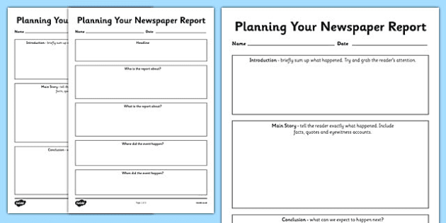 Newspaper Report Planning Templates  Newspaper Report Writing A