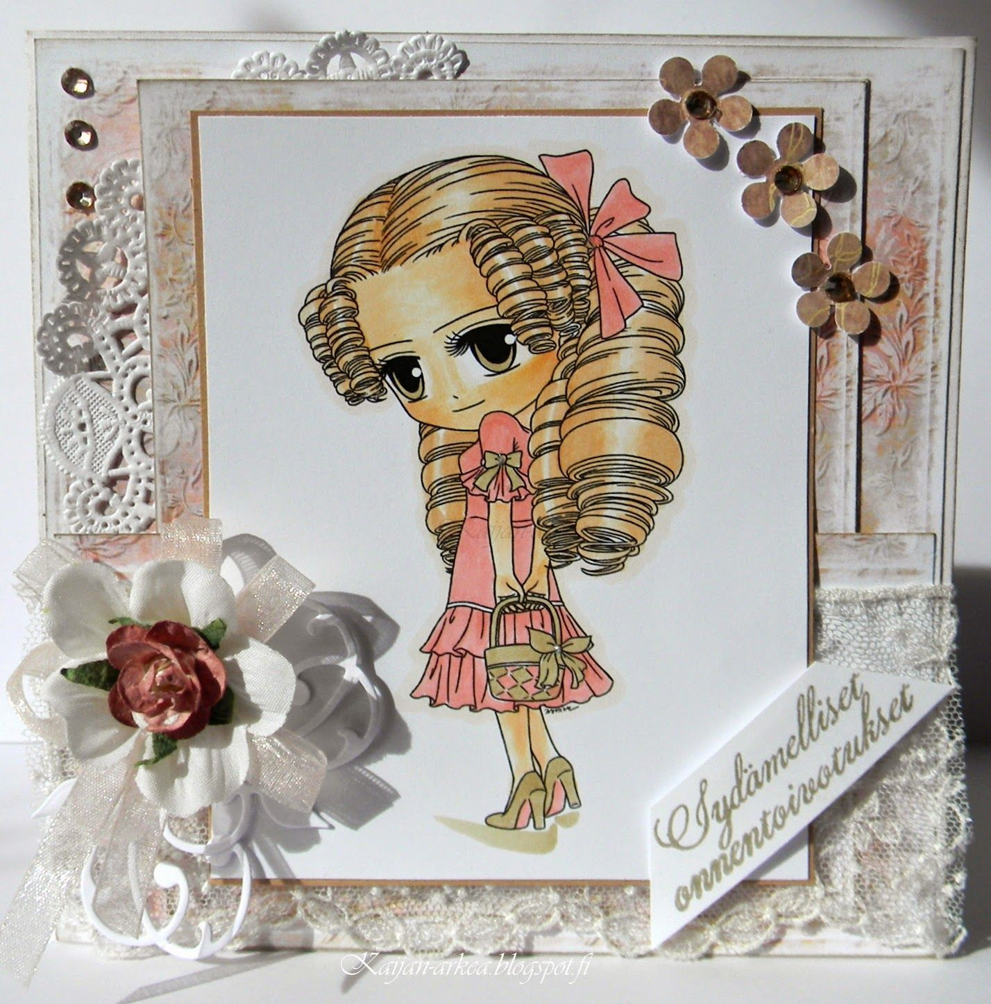 Väritys Copic Ciao:E50-E51-E00-E93 Hair:YR00 Dress:R32 and Y28 Kaijan-arkea: Missy Chic!