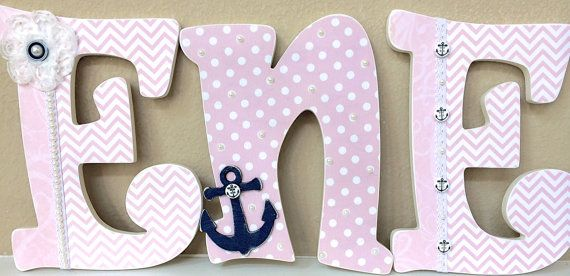 Nautical baby girl name wooden wall letters by theruggedpearl nautical baby girl name wooden wall letters personalized baby gift custom name girl nursery decor kids wall art any color and theme negle Images