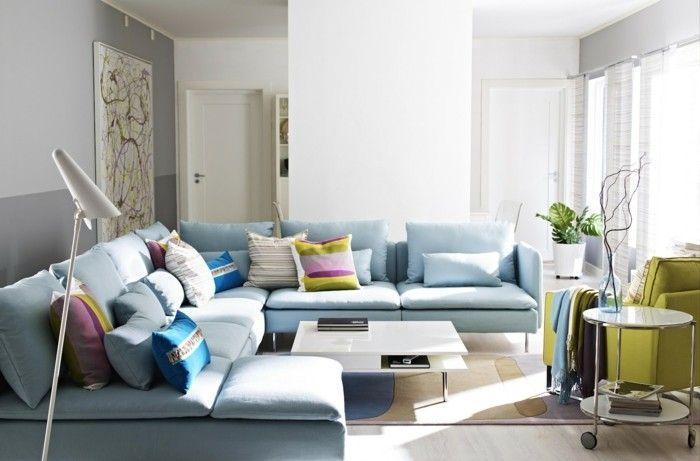 sofa blue light blue coloured cushion of green Chair | interior ...