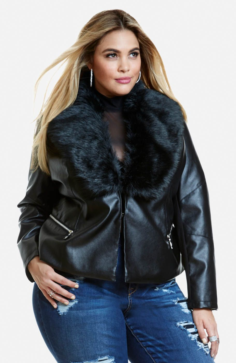 Plus Size Evana Faux Leather Jacket Fashion To Figure Leather Motorcycle Jacket Women Fashion [ 1400 x 911 Pixel ]